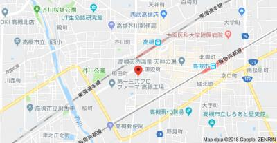 【地図】サニーコート2 スモッティー阪急高槻店