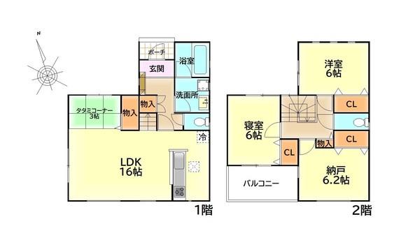 【間取り】 ゆとりある2SLDK+タタミコーナーの間取りです。閑静な住宅街でのびのび子育てをできる住環境です♪