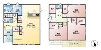 6号棟:3780万円 ■LDK21.5帖 ■バルコニー ■ワークペース ■ユニットバス ■ウォークインクローゼット