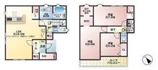 2号棟:3580万円 ■3LDK+書斎 ■フリースペース ■ルーフバルコニー ■ウォークインクローゼット ■シューズインクローク