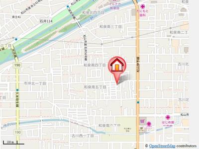 【地図】フレグランスいずみA棟