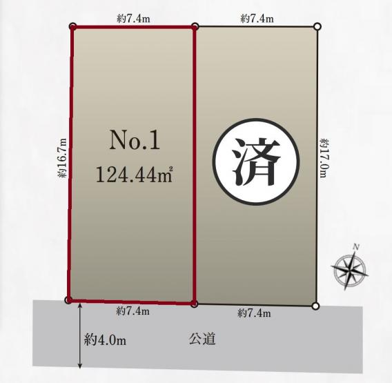 【区画図】売地 藤沢市鵠沼神明4丁目 №1