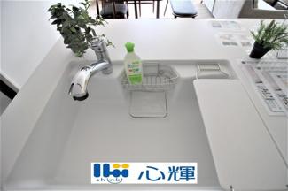 洗練されたデザインのメタルシャワーヘッドは引き出し可能で、シンクの隅々まで洗い流すのに大変重宝します。