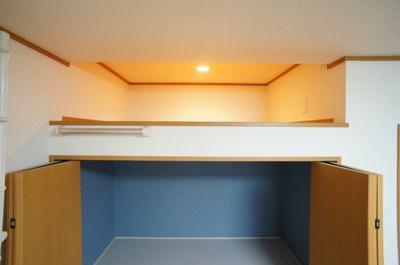 居住空間としては狭いですが、衣替えなど季節ものをしまう収納としてとても役に立ちます。