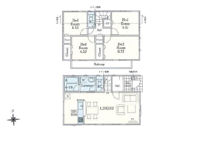 4LDK 敷地面積:117.30m2 建物面積:90.72m2