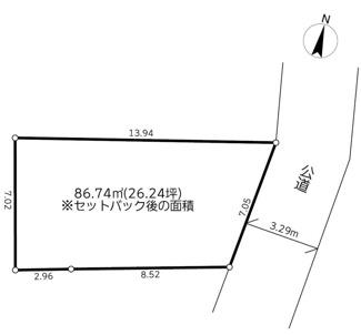 【土地図】横浜市泉区白百合1丁目 建築条件無売地 1490万円