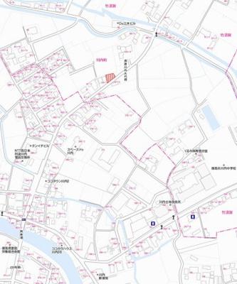 【地図】川内町竹須賀 土地