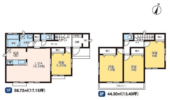 2号棟 4LDK+SIC 全居室フローリングのおうちです。お掃除もラクラクです。