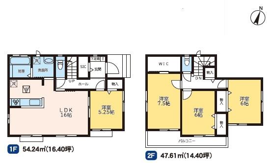 3号棟 4LDK+SIC+WIC 大容量の収納が完備している間取りです。