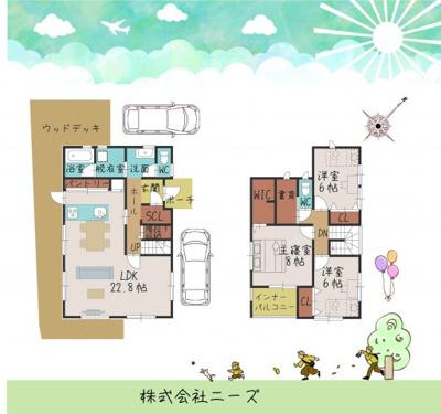 建物面積:115.10㎡/34.81坪 建物本体価格:2150万円。外構費用は別途となります。