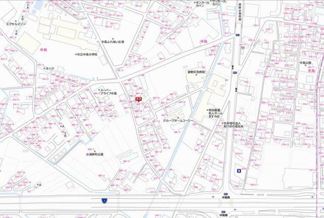 【地図】倉敷市中島 売地