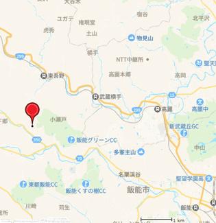 【地図】中古戸建 3LDK 飯能市中藤下郷