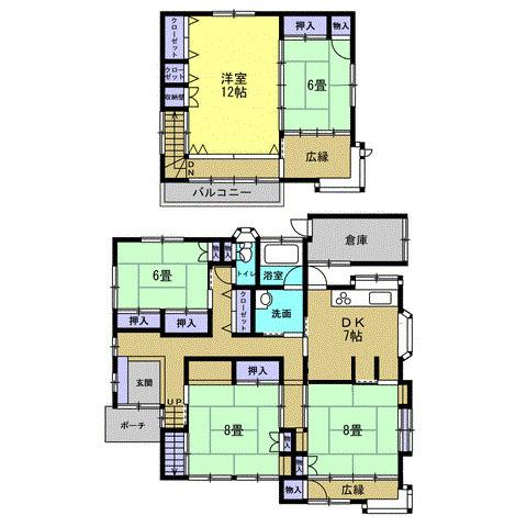 5DK 部屋数の多さと収納力がある5DKで和風2階建てです。