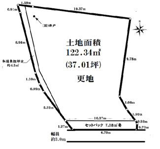【土地図】川西市寺畑2丁目8-2 建築条件無土地