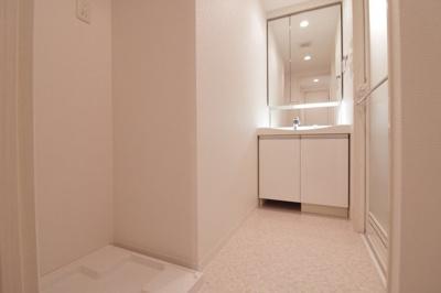 独立洗面化粧台と室内洗濯機置場付き