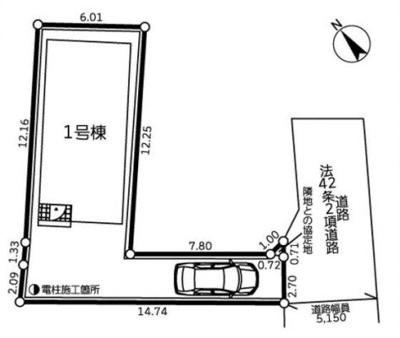 【区画図】茅ヶ崎市浜之郷 新築戸建