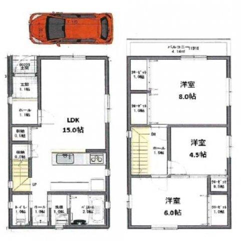 3LDK、駐車場スペース1台駐車可 (参考プラン:間取りは変更可能です)