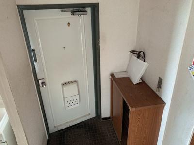 毎日通る玄関はこちらです。シューズボックスもあります。