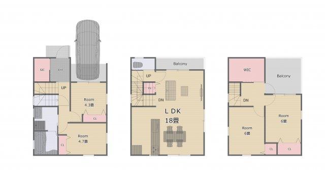 全居室収納付き!大きなリビングが魅力の4LDK♪(参考間取りにつき変更可能です!)