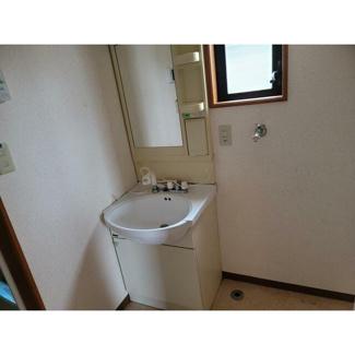 洗面所。独立洗面台と室内洗濯機置き場があります。