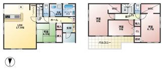 2号棟:3480万円 ■4LDK ■パントリー ■和室 ■ウォークインクローゼット ■ルーフバルコニー