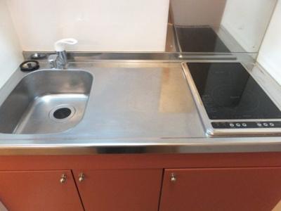 広めのキッチンで電気コンロはラジエントの2口タイプ