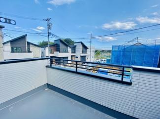 【バルコニー】新築分譲住宅 全3棟 中島 広々としたバルコニー