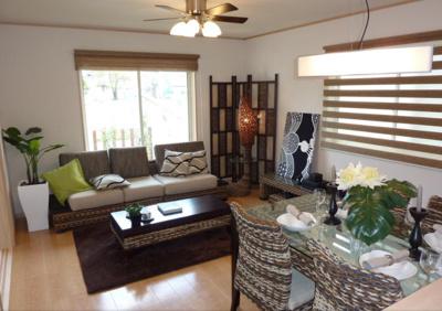 ~モデルハウス写真~ 家具を配置すると、一気にオシャレな空間に囲まれる理想のリビングです。