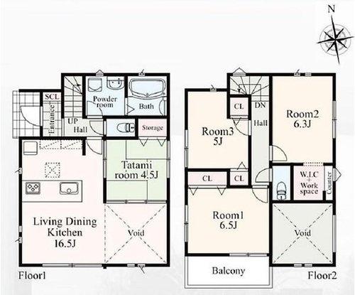 間取りは4LDK。各居室収納付きでお部屋もスッキリ片付きます。