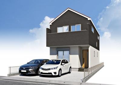 白と黒のコントラストが建物の印象をおしゃれに引き立てます。シンプルかつ飽きの来ないデザインに。