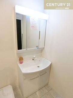 シャワー付きの三面鏡化粧台で朝の身支度もスムーズにできそうですね。