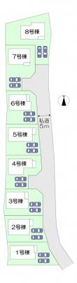 全8棟・4号棟 全棟駐車並列2台可能です。