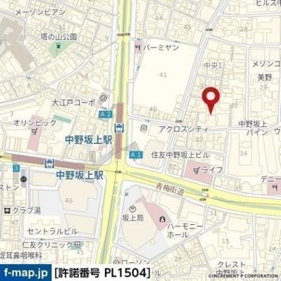 【地図】ザハウス中野坂上