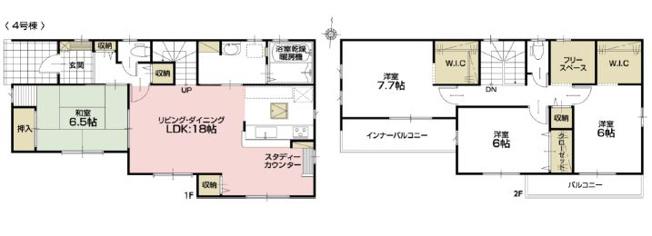 3号棟 4LDK+SIC+WIC リビングスルー階段仕様で、家事動線のよい間取りです。