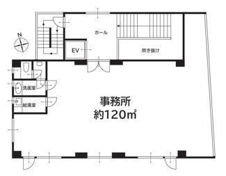 広々120平米専有(階段室やホールは除く)。エレベーター付き