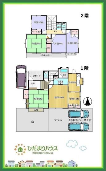 ゆとりの敷地62坪、お庭にテラスに駐車スペースは3台分!!