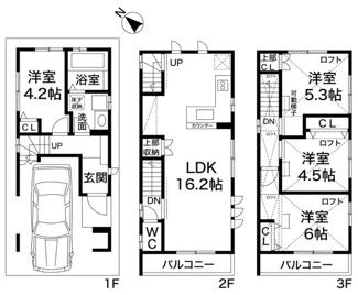 土地面積は14坪とコンパクトですが南側が駐車場となっていますので明るいお家が建ちますよ。