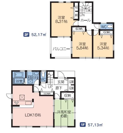 3号棟 4LDK 1階和室は玄関から直接出入りできるので急な来客にも対応できます。