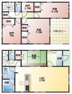 高浜市神明町第4新築分譲住宅9号棟間取りです。2階全室日当り良好です。納戸が2ヵ所ある3LDKです。
