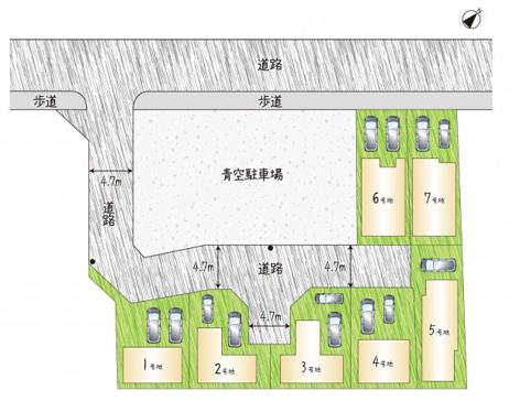 【全体区画図】 全7区画!「完全自由設計」で思いどおりのお家が建てられます。