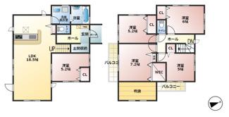 ①号棟:3980万円  ■5LDK ■吹き抜け ■2面バルコニー ■和室 ■ウォークインクローゼット