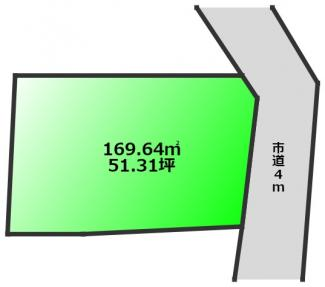 南東側4m市道に10m接道 日当たりのよい立地
