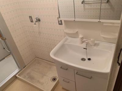 朝の支度にも助かる、独立の洗髪洗面化粧台です。