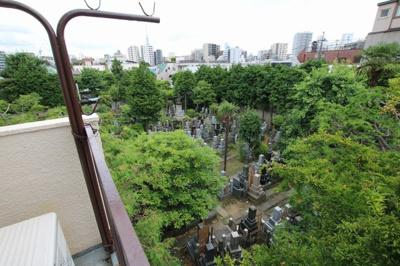 菅田ビル ベランダからお墓が見えます
