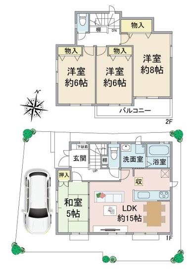 ・敷地面積約30.2坪 ・LDK15帖にカウンターキッチン ・リビングの隣和室 ・全室南向き ・南面バルコニー