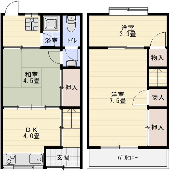 法善寺4丁目3DKテラスハウス(柏原市法善寺)