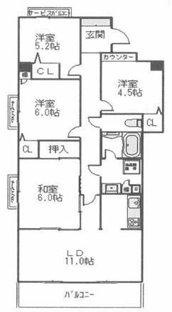 4LDK、価格2680万円、専有面積74.86㎡、バルコニー面積7.86㎡