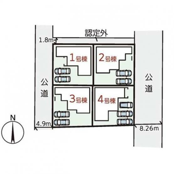 【区画図】橿原市川西町2期 新築(全4棟)1号棟