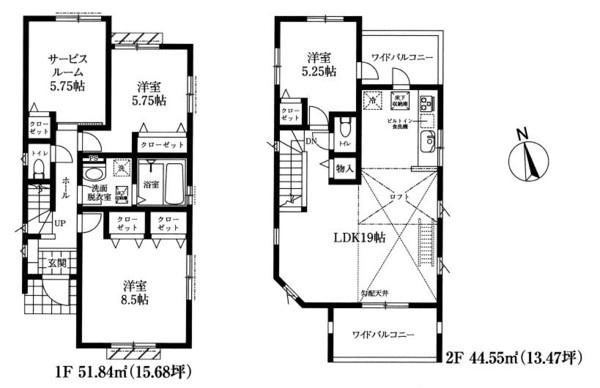 土地面積117.71平米 建物面積69.39平米  ワイドバルコニー付きの3SLDK! 各室収納付きの使い勝手の良い間取りです!