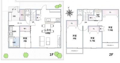 【外観】池田市畑1丁目 新築戸建 1号地
